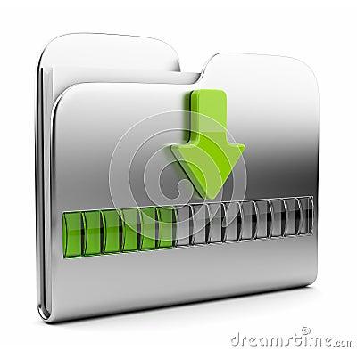 Metallic folder 3D icon. Date downloading