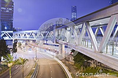 Metallic Footbridge at night in Hong Kong