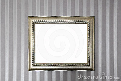 A metallic frame on the wall