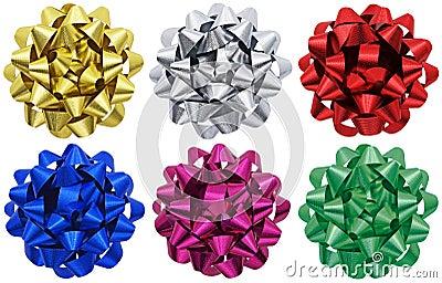 Metallic gift bows x 6