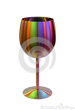Metallic goblet for wine in color lights on white
