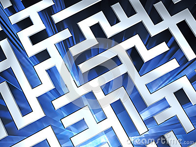 Metallic maze background with blue flame