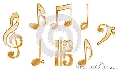 Metallic music notation vectors