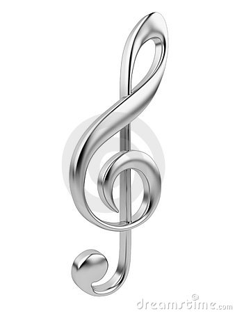 Metallic music note 3D. Icon isolated on white