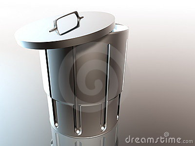 Metallic open trash can