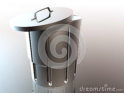 Metallic open trash can