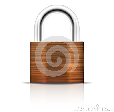 Metallic Padlock. Closed lock security icon