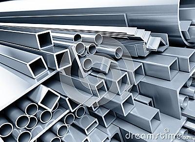 Metallic pipes, corners, types