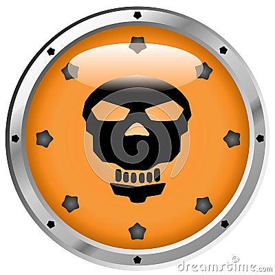 Metallic Pirate Skull Button
