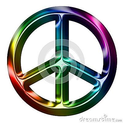Metallic Rainbow Peace Sign