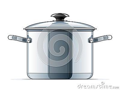 Metallic saucepan with lid