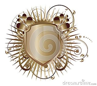 Metallic shield emblem