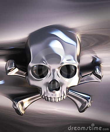 Metallic skull and crossbones