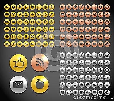 Metallic social media icons collection Editorial Photo