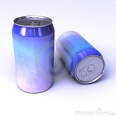 Metallic soda cans with beautiful water cover