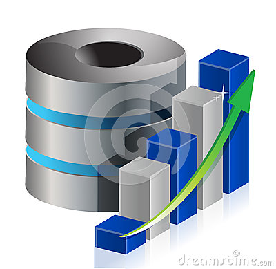 Metallic statistic data base icon illustration