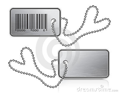 Metallic tag and chain