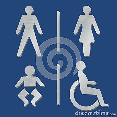 Metallic toilet icons