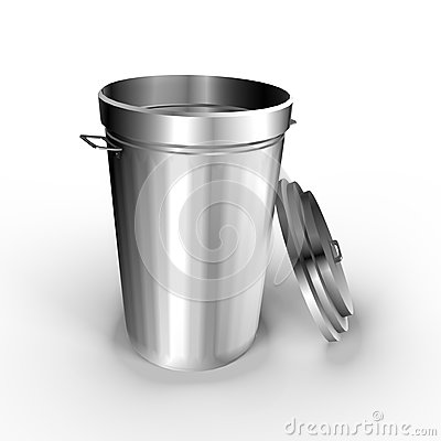 A metallic trash can - a 3d image