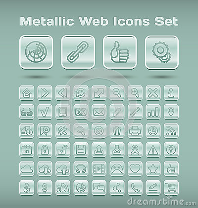 Metallic web icons set