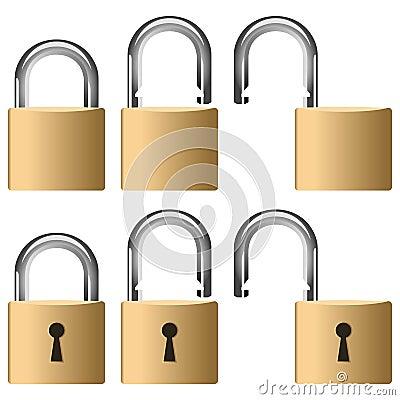 Metallisk padlock för samling