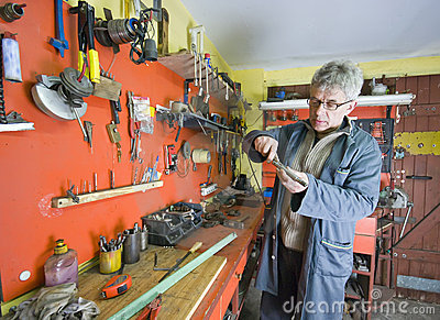 Metalworker and his tools