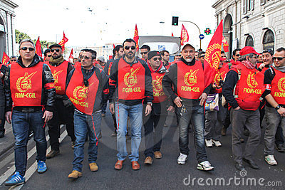 Metalworkers  general strike in Italy Editorial Photography