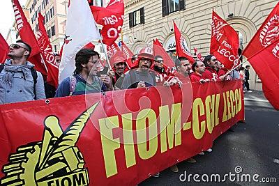 Metalworkers  general strike in Italy Editorial Image