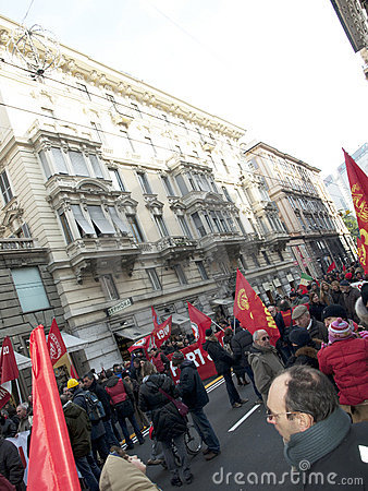 Metalworkers  strike in Genoa Editorial Stock Photo