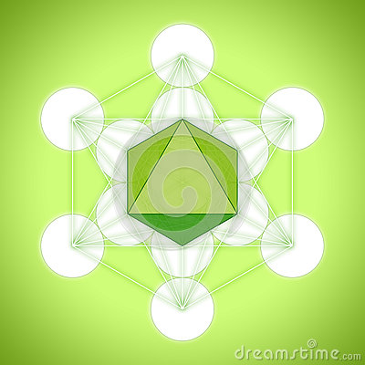Free Metatron`s Cube With Platonic Solids - Octahedron Royalty Free Stock Images - 84257109