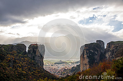 Meteora Rocks with Kalampaka town on the background, Greece