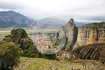 Meteora Rocks with Kalampaka town, Greece