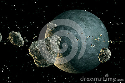 Meteors and planet.