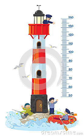 Free Meter Wall Or Height Chart With Lighthouse Stock Photos - 86379363