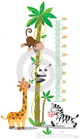 Free Meter Wall With Palm Tree And Funny Animals Royalty Free Stock Photography - 40343757
