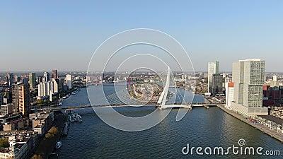 metragem 4k aérea da ponte do Erasmus em rotterdam com o rio de Mosa video estoque