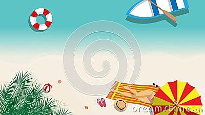 Metragem sem emenda dos desenhos animados da menina 'sexy' no banho de sol do biquini na praia com o acessório de forma do guarda ilustração stock