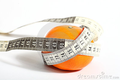 Metric tape measure and tangerine