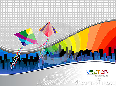 Metro City Background and Flying Kites