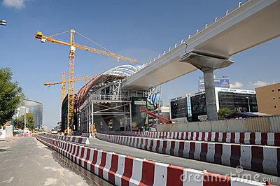 Metro Construction in Dubai City Editorial Image