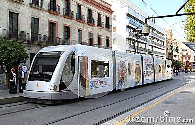 Metro de Sevilla in the streets of Seville, Spain Editorial Stock Photo
