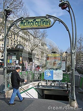 Metro entrance in Paris Editorial Stock Image