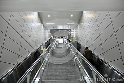Metro escalator in Shanghai Editorial Stock Image