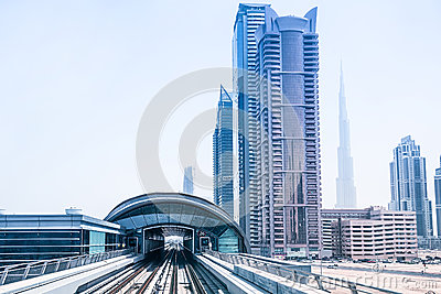 Metro line in Dubai Editorial Photography
