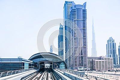 Metro line in Dubai Editorial Photography