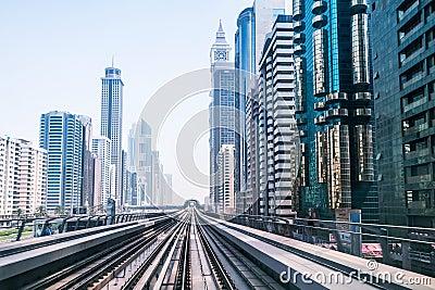 Metro line in Dubai Editorial Image