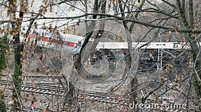 Metro North train derailment in the Bronx Editorial Image