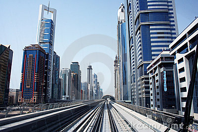Metro railway in Dubai city