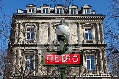 Metro Sign in Paris Editorial Stock Photo