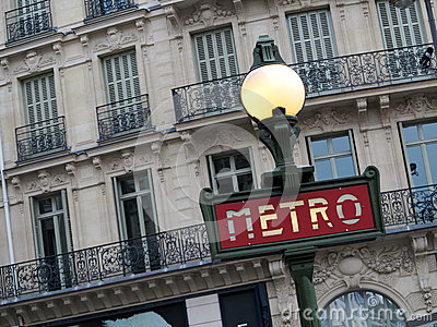 Metro Sign in Paris Editorial Stock Photo